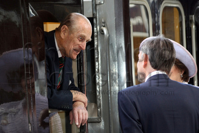 HRH Prince Phillip, The Duke of Edinburgh at Salisbury Railway Station as the Royal PArty left Salisbury on 1st May 2012