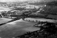 Looking south towards Salisbury.  Ford in foreground. London Rd Park & Ride in the distance.(B&W)