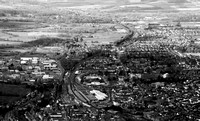 Looking west.  Salisbury Railway Stn, Churchfields Ind Est, Wilton Rd. B&W