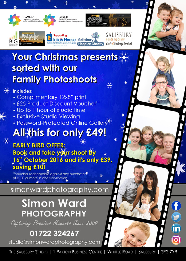 Christmas 2016 Early Bird Offer - Family Portrait Photoshoot at Simon Ward Photography, Salisbury, Wiltshire.